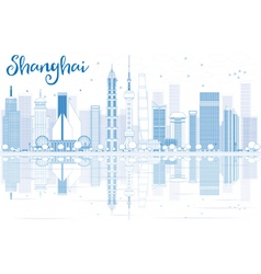 Outline Shanghai skyline with blue skyscrapers vector image