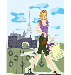 Paris doodles with shopping lady vector