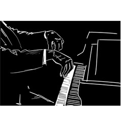 pianist hands on piano keyboard vector image