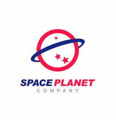 Planet saturn solar system logo vector