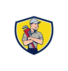 Plumber Arms Crossed Crest Cartoon vector