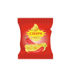 potato chips with chili peppers vector image