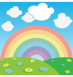 rainbow and flowers vector image vector image