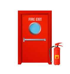 Red fire exit with round circle and extinguisher vector