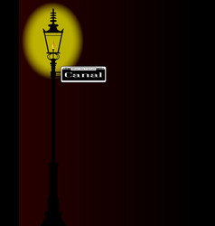 Rue du canal sign with lamp vector