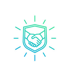 Safe deal trust partnership icon with handshake vector