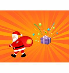 santa claus with gift bag vector image