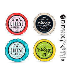 Set of template labels for cheese vector