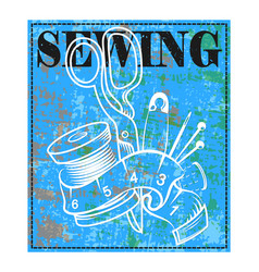 sewing and cutting banner vector image