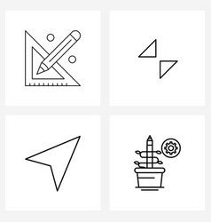 Simple set 4 line icons such as scale mouse vector