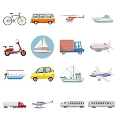 Transportation icons set cartoon style vector