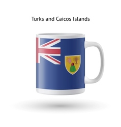 Turks and Caicos Islands flag souvenir mug on vector