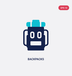 two color backpacks icon from outdoor activities vector image