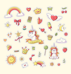 unicorn sticker set vector image