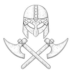 viking axes and helmet hand drawn sketch vector image