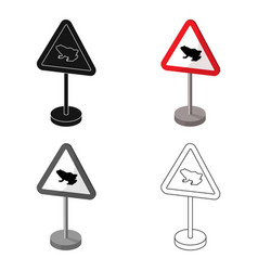 Warning road sign icon in cartoon style isolated vector
