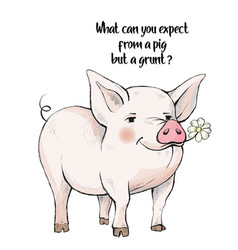 what can you expect from a pig but a grunt cute vector image