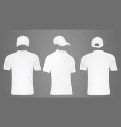 white baseball cap and polo t shirt vector image