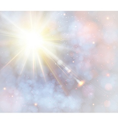 Winter shining sun with lens flare vector image vector image