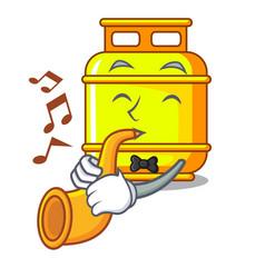 With trumpet creative in gas cartoon tank vector