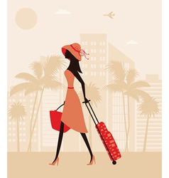 Woman with a suitcase at the resort vector image