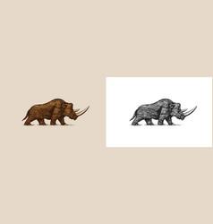 woolly rhinoceros extinct animal ice age vector image