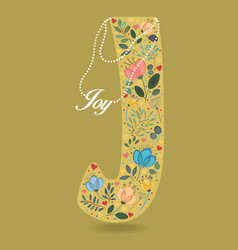 Yellow letter j with floral decor and necklace vector