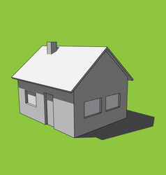 3d image - grayscale simple isolated house vector image vector image