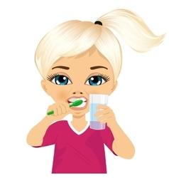 Cute little girl brushing teeth vector image vector image