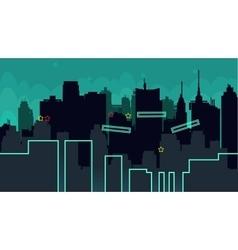 Seamless cartoon night city landscape vector image vector image
