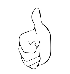Sketch line drawing Hand with thumb up vector image vector image
