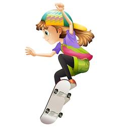 A young woman skateboarding vector image vector image