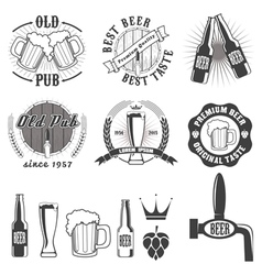 Beer pub labels badges and icons collection vector image vector image