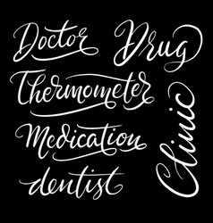 clinic hand written typography vector image vector image