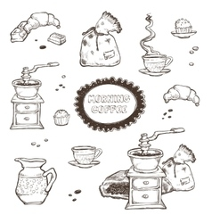Coffee and dessert set Food vector image vector image