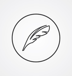 feather outline symbol dark on white background vector image