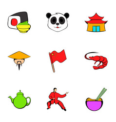 japanese culture icons set cartoon style vector image vector image