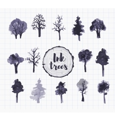 Set of trees hand drawn with ink vector image vector image