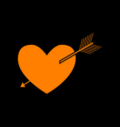 arrow heart sign orange icon on black background vector image vector image