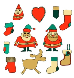 Cute Christmas toys set vector image