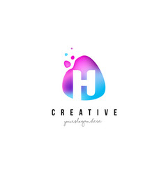 h letter dots logo design with oval shape vector image