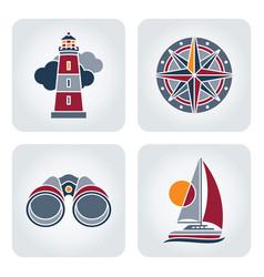 Seaside icons set vector