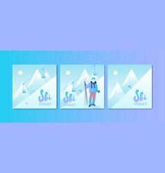 ski resort poster set vector image