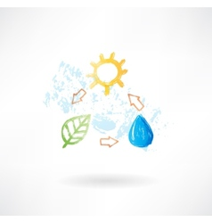 Water cycle grunge icon vector image vector image