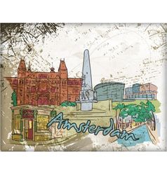 amsterdam doodles vector image vector image