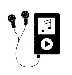 Contour mp3 with headphones to listen and play vector
