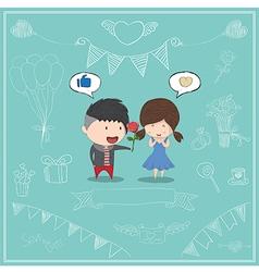 Cute cartoon boy give rose girl card vector image