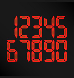 Digital glowing numbers red numbers on vector