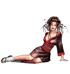Geisha sitting vector image vector image