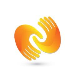 Handshaking logo design vector image vector image